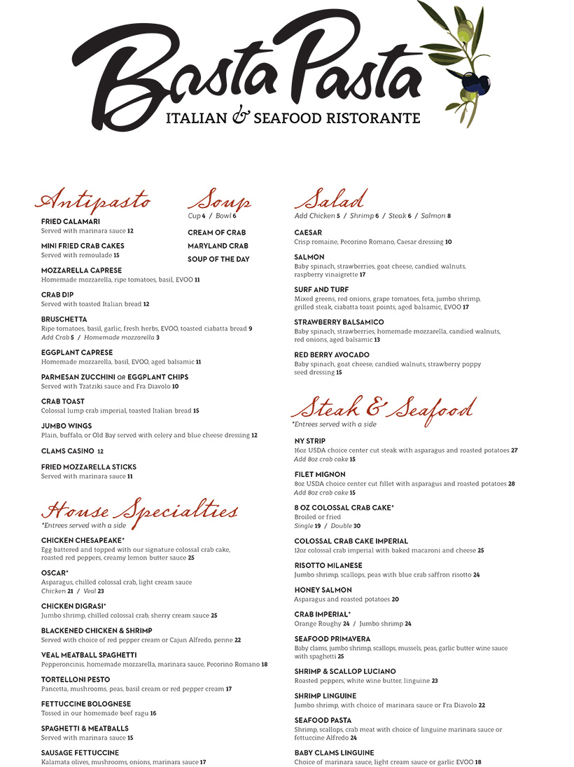 Dinner menu for basta pasta in fallston md casual for Senor fish menu